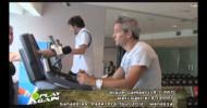 Lamperti y Grabiel entrevistados mientras entrenan